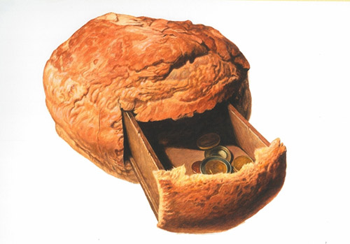 2-big-bread-with-coins-inside-painting
