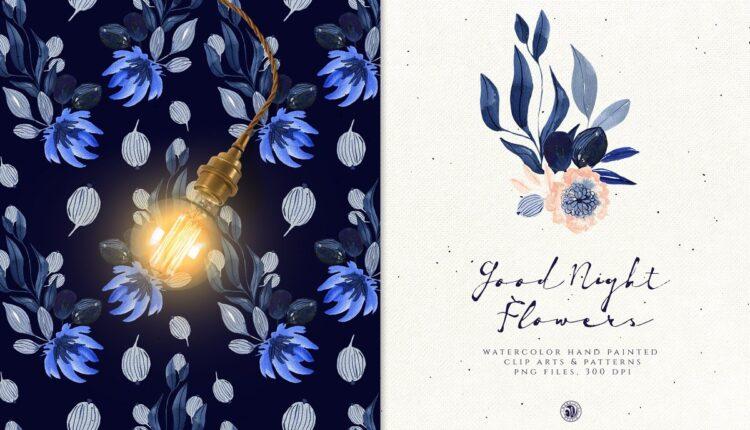 تصاویر PNG گل های آبرنگی با تم بنفش