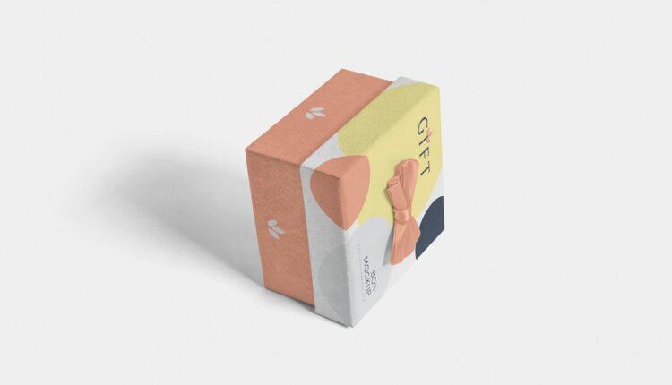 موکاپ جعبه هدیه مربعی
